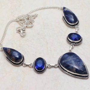Sodalite with Tanzanite Gemstones Necklace